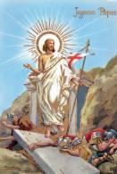 JOYEUSES PAQUES - SUPERBE CARTE - GRAND FORMAT - EN COULEUR, DOREE, MONTRANT LE CHRIST AUREOLE TERRASSANT SES GEOLIERS - - Pâques