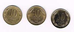) CHILI  3 X 10  PESO   1995/96/2007 - Chili
