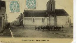 CPA 77 LIEUSAINT EGLISE GRANDE RUE  1906 Animée  Peu Frèquente - Sonstige Gemeinden