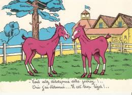 """CPSM 10X15 . Ilust.  L. GOUGEON . Fantaisie HIPPISME . """" Vous Avez Désarçonné Vore Jockey ! .... Il Est Trop Léger !.. """" - Gougeon"""