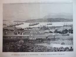 Les Manoeuvres Navales En Méditerranée , Vue De La Rade De Toulon , Navires , Gravure De 1888 - Documents Historiques