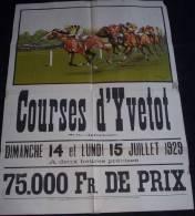 affiche course de chevaux hippisme YVETOT 1929 sign�e Maurice Toussaint