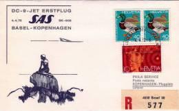 GENEVE - BALE - COPENHAGUE  /   -  Cover _ Lettera  -   DC - 9  PREMIER VOL  _ SAS - Airmail
