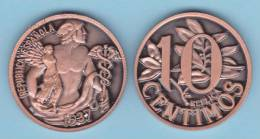 SPAGNA / II REPUBBLICA  10 CÉNTIMOS 1.937   Cy. Tipo 1a-16725  COBRE SC/UNC   T-DL-10.331 Ita. - [ 2] 1931-1939 : Republic