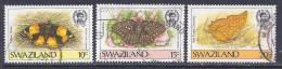 Swaziland, Scott # 506-8 Used Part Set Butterflies, 1987 - Swaziland (1968-...)