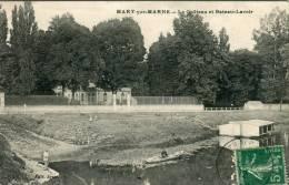CPA 77  MARY SUR MARNE LE CHATEAU ET BATEAU LAVOIR 1912 - France