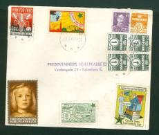 Denmark. Cover Postal Used 1945 With 6 Poster Stamp Peace, Esperanto . - Denmark