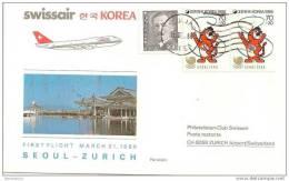 CH - 15336 - Enveloppe 1er Vol Swissair SEoul-Zurich 1986 Par B747 - Korea, South