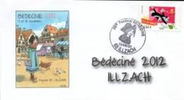 BEDECINE 2012 ILLZACH & TURF : Enveloppe Philatélique FDC + Cachet + Timbre ( Alsace HANSI Oie Chien) - Comics