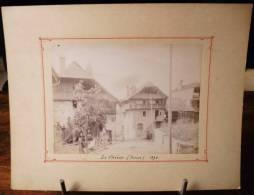 GRANDE PHOTOGRAPHIE CARTONNE 1892 : LA CHIESA INTERIEUR DU VILLAGE SUISSE - Lieux