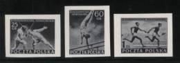 POLAND 1954 POLISH NATIONAL ATHLETICS MEETING SERIES 2 SET OF 3 BLACK PRINTS NHM Sports Fencing Gymnastics Relay - Gymnastik