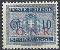 1944 RSI GNR BRESCIA SEGNATASSE 10 CENT MNH ** VARIETà CON DECALCO - RSI144-4 - Strafport
