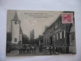 CPA Alsace Occupation Allemande. Gruss Aus Alteckendorf. Wirtschaft Zum Rebstock Von G.matter Mit Ansicht Der Kirche - France