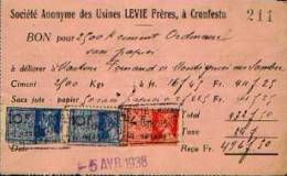 CRONFESTU : Facture De La Cimenterie : Usine LEVIE (format 135 X 90 Mm) Avec Tmbres Fiscaux - Belgique