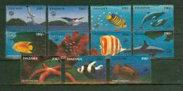 Tanzania 1998.11V,part Set,fish,vissen,poissons,fische,peche,sea Star,shark,dolphins,birds,vogels,MNH/P O Stfris(D1470) - Vissen
