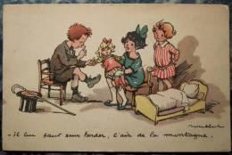 CPA Illustration Couleur POULBOT Enfants Qui Jouent Au Docteur Poupée - Poulbot, F.