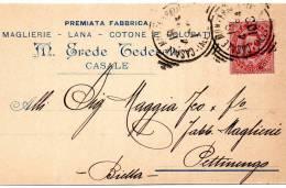 CARTOLINA INTESTATA FABBRICA MAGLIERIA CON ANNULLO CASALE MONFERRATO - 1900-44 Vittorio Emanuele III