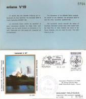 ARIANE V19 Jeu De 3 Enveloppes AP CNES + Pochette Bleue - Europa