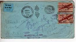 Enveloppe De LOS ANGELES Pour La France  En 1946 Et Retounée  Pour L´affranchissement (scans Recto Et Verso) - Postal History