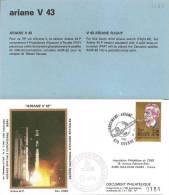 ARIANE V43  Jeu De 2 Enveloppes AP CNES + Pochette Bleue - Europa