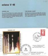 ARIANE V46  Jeu De 2 Enveloppes AP CNES + Pochette Bleue - Europa