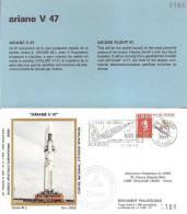 ARIANE V47 Jeu De 2 Enveloppes AP CNES + Pochette Bleue - Europa