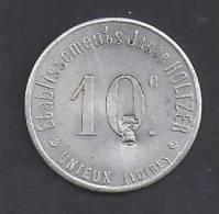 LOIRE - Unieux - Ets Jacob Holtzer - 10 C - Contremarque Cloche - Monétaires / De Nécessité