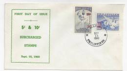 Philippines FDC 1960 Surcharged Ovpt 5c & 10c Sc# 826 828 E - Philippines
