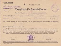 LOT  -  5 X BEZUGSCHEIN FUR SPINNSTOFFWAREN  -  PLAUEN 1943 - Documents