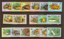 Tuvalu 1979 Yvertn° 93-110 *** MNH Cote 21,50 Euro  Poissons Vissen Fish 20 Cent Manque ( Cote 0,50 Euro ) - Tuvalu