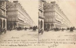 "PARIS  -  Rue  De  Rivoli  /  Animée  /  Carte  Stéréo  "" Le  Merveilleux ""  ELD - Stereoscope Cards"