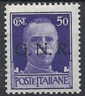 1944 RSI GNR VERONA 50 CENT MNH ** - RSI090-8 - 4. 1944-45 Repubblica Sociale