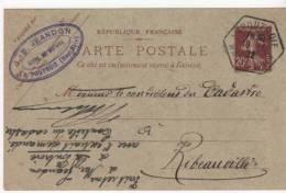 Entiers Postaux..Ribeauvillé   Pour Lapoutroie..1922.. Tampon Exagonale Semeuse - Entiers Postaux