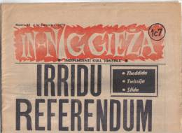 MALTA - ( IN- NIGGIEZA ) FULL NEWS PAPER /   1st SEPTEMBER  1972 / - Books, Magazines, Comics