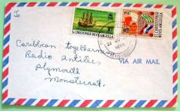St. Christopher Nevis Anguilla 1974 Cover To Montserrat - Ship Flags - West Indies