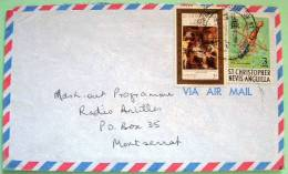 St. Christopher Nevis Anguilla 1978 Cover To Montserrat - Spade - Christmas Painting - West Indies