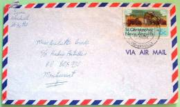 St. Christopher Nevis Anguilla 1980 Cover To Montserrat - Agriculture Sugarcane Tractor Harvest - West Indies