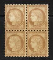 FRANCE N° 55 * Bloc De 4 Froissures De Gomme ( 1 Ex. Rousseur) - 1871-1875 Ceres