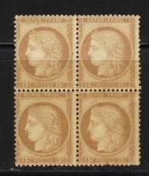 FRANCE N° 55 * Bloc De 4 Froissures De Gomme ( 1 Ex. Rousseur) - 1871-1875 Cérès