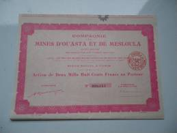 MINES D´OUASTA ET DE MESLOULA (algerie) 2800 Francs - Shareholdings