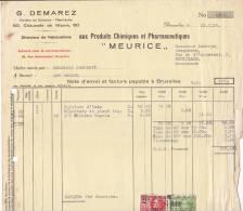 """G DEMAREZ 6 CHAUSSEE DE WAVRE BRUXELLES - PRODUITS CHIMIQUES ET PHARMACEUTIQUES """"MEURUCE"""" - Belgium"""