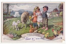 EASTER CHILDREN SHEEP AND CHICKENS Nr. 22-189 DAMAGED CORNER OLD POSTCARD - Easter