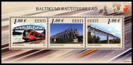 Estonia Estland Estonie 2012 (20) Railway Bridges – Joint Estonian-Latvian-Lithuani An Issue (s/sh) - Estonia