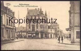 ALTE POSTKARTE DIFFERDINGEN ECKE MAX MEIER & BAHNHOFSTRASSE DIFFERDANGE Luxemburg Luxembourg Ansichtskarte Cpa Postc - Differdingen