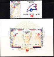 Bicentenaire De La Révolution Française :Nlle Calédonie, Philex 89, N° 579 + Vignette Et BF N° 9. - Nouvelle-Calédonie