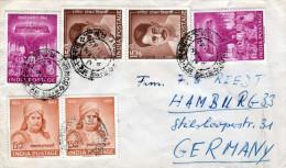 Indien INDIA BOMBAY - HAMBURG 1962, Sehr Schöne 6 Fach Frankierung - Indien