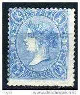 ISABEL II, 1865*  4 CUARTOS AZUL - 1850-68 Kingdom: Isabella II