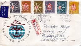 FDC Reco, Indonesien 1959, 6 Fach Satzfrankatur + 2 Fach Rückseitig - Indonesien