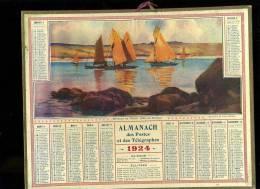 Calendrier 1924 Bateaux De Pêche Près De MoRgat, Bretagne. - Big : 1921-40