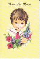 Bonne Fête Maman. Petit Garçon, Bouquet De Fleurs - Fête Des Mères